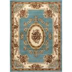 Timeless Le Petit Palais Light Blue 6 ft. 7 in. x 9 ft. 3 in. Traditional Classical Area Rug