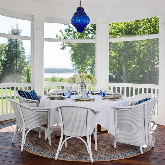 Indoor Porches You'll Love: Modern Gardens, Lights Fixtures, Screens Porches, Outdoor Rooms, Sleep Porches, Blue Lights, Traditional Home, Sunroom, Blue And White
