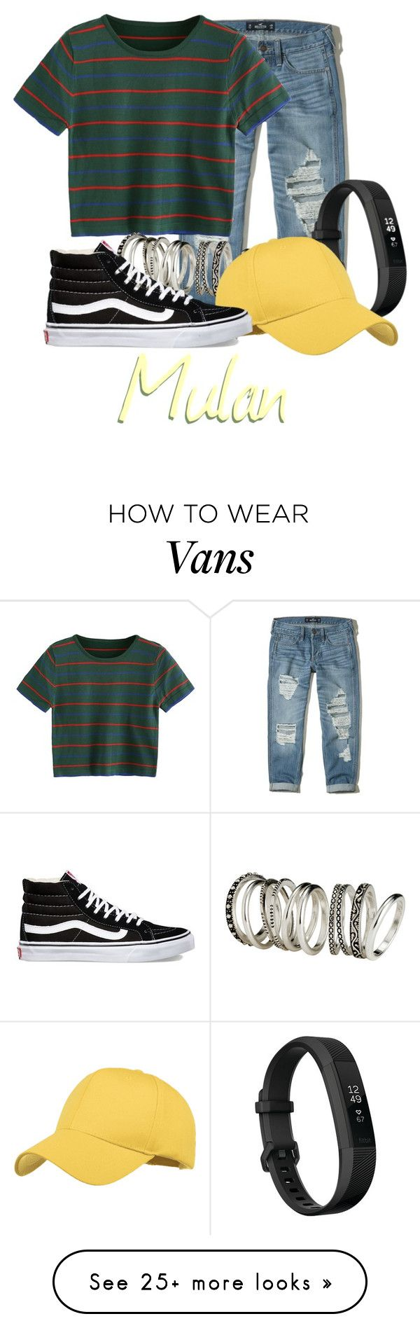 """How 'bout a girl who's got a brain, who always speaks her mind?"" by beckthemermaid on Polyvore featuring Hollister Co., H&M, Fitbit and Vans"