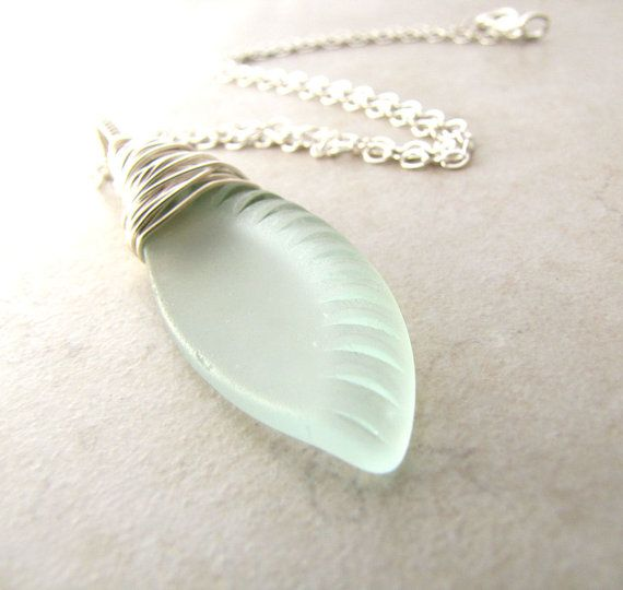 Sea Glass Seaglass Necklace Aqua Eco Recycled Bottle BellinaCreations Bellina Creations