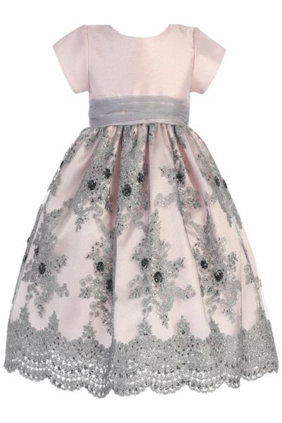 Pink Shantung & Silver Embroidered Girls Holiday Dress (C992)