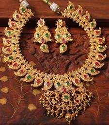 Buy AWESOME GOLDPLATD SEMIPRECIOUS RUBY- EMERALD  BRIDAL NECKLACE SET necklace-set online