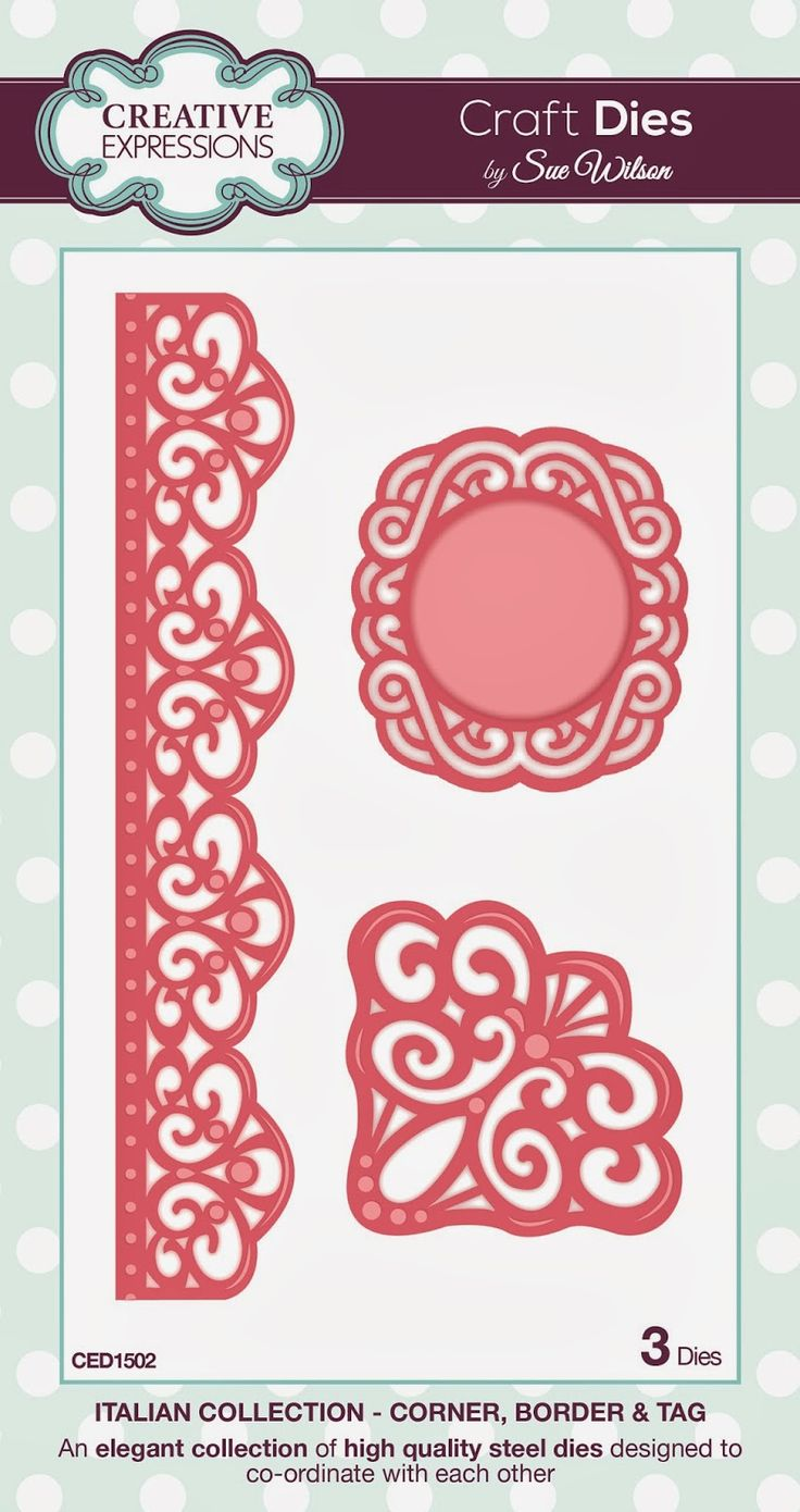 "Corner, Border & Tag ~ Italian Collection CED1502 -- 3 craft dies. Length of Border die: 205mm approx. (8.07"")"