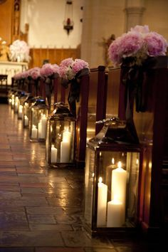 wedding lanterns - multiple candles, but knock over safe...