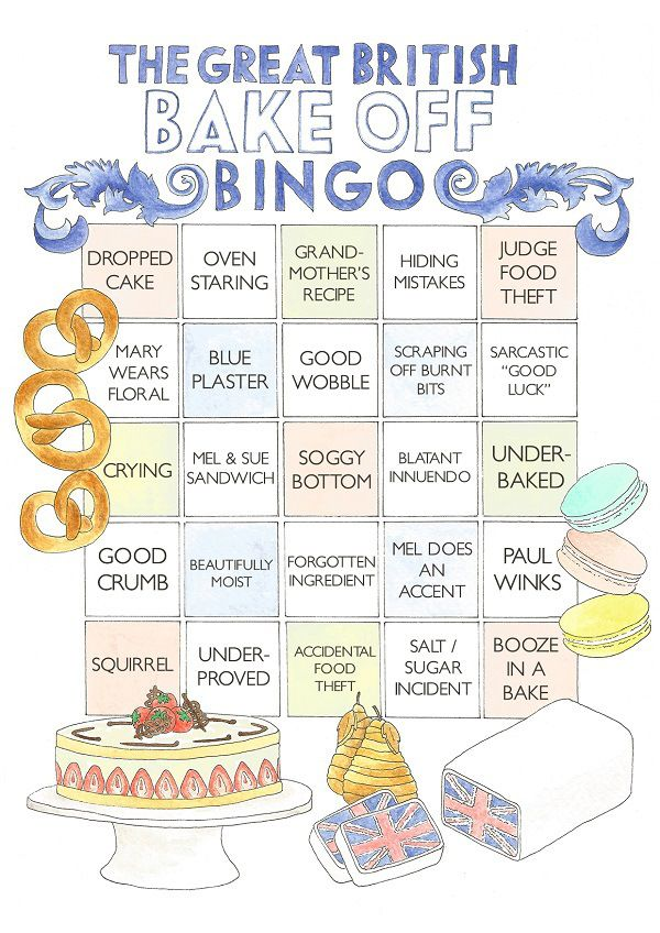 The Great British Bake Off Bingo Card #gbbo #bakeoff #bingo #thegreatbritishbakeoff
