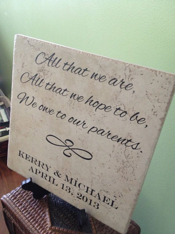 Large Laser Engraved Parent S Wedding Ceramic Tile Gift Sign Customized Personalized With Name And
