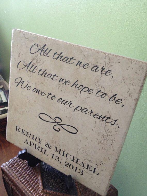 Large Laser Engraved Parent S Wedding Ceramic Tile Gift