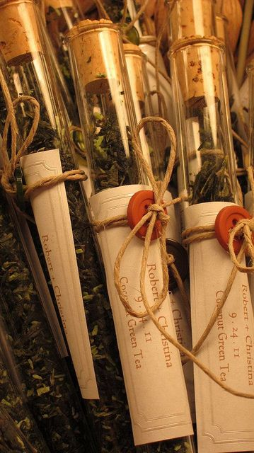 party favors...test tubes filled with tea.  tied with a button, tag, jute