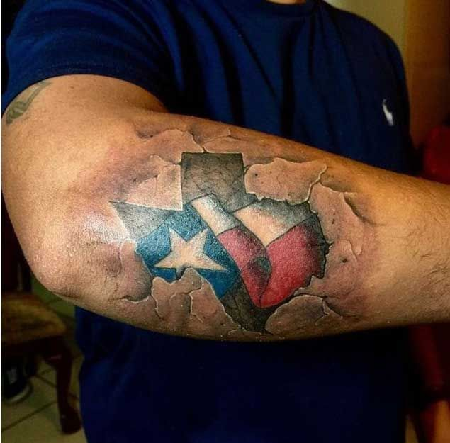 3D State of Texas Tattoo