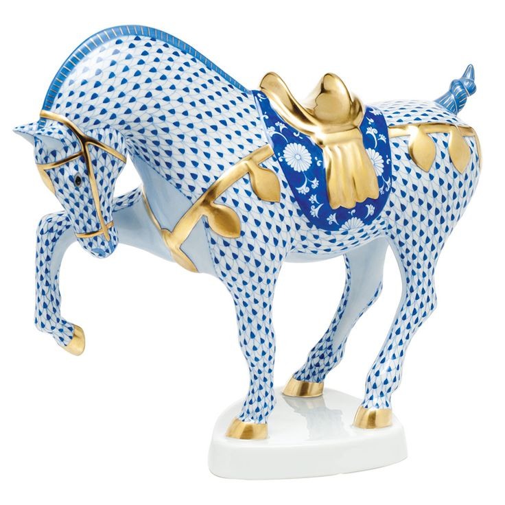 Tang Horse, Herend porcelain blue and white, Reference guide collectors, curated, collectors, acquired II, collectibles, blue and white, COMPS,   HUNGARIAN PORCELAIN ~ Herend blue horse.