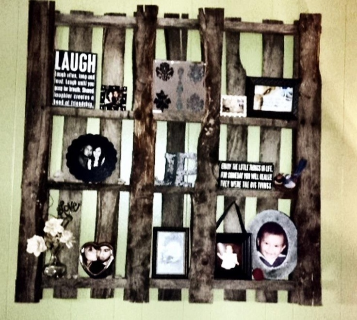 I DID IT! ..  My first complete Pinterest project!. Old palate used as a collage/shelf on wall !!!