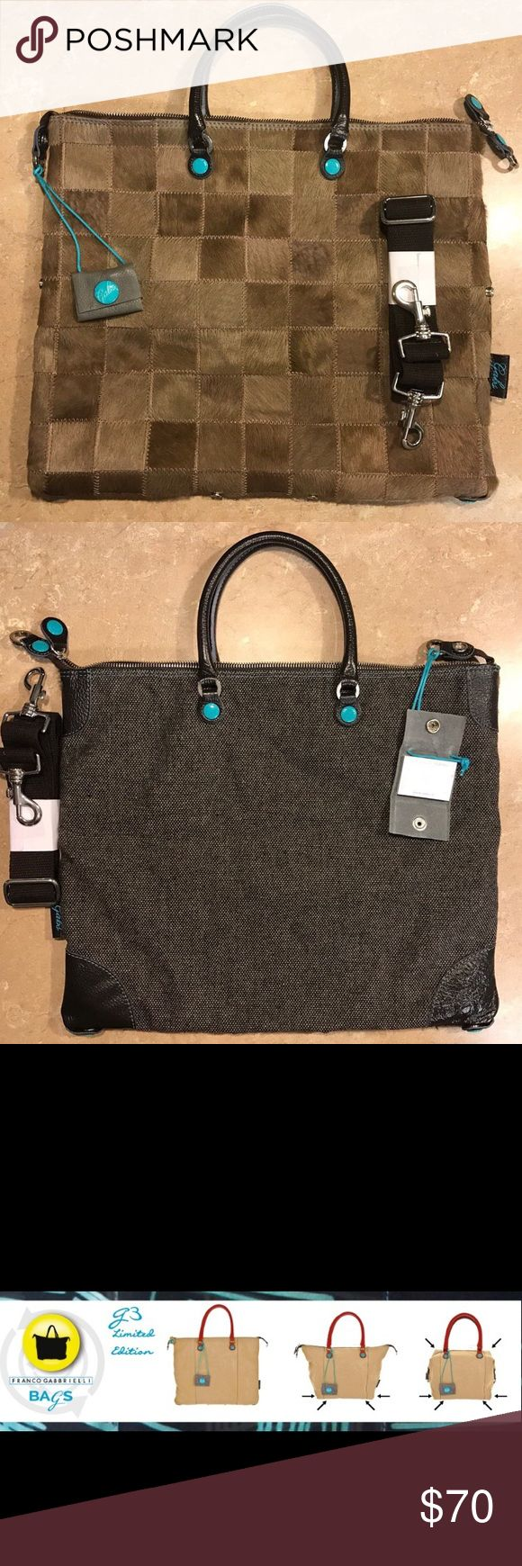 """Gabs G3 bag Italian bag.Bag can take three shapes as pictured. 14"""" 12"""" 3"""" adjustable strap is included, cute mini leather hanging notebook, aqua blue lining 100% cotton, one zipper pocket and two open pockets inside Gabs Bags Shoulder Bags"""
