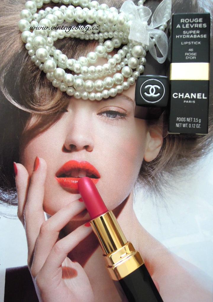 Coco Chanel, lipstick, pearls  Rtěnka Chanel, perly   www.vintageblog.cz