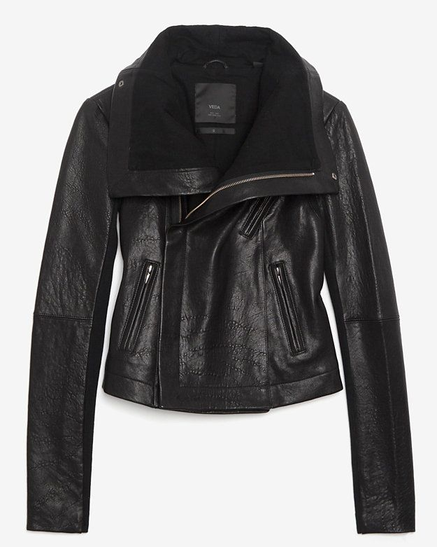 Veda Classic Leather Jacket: Black