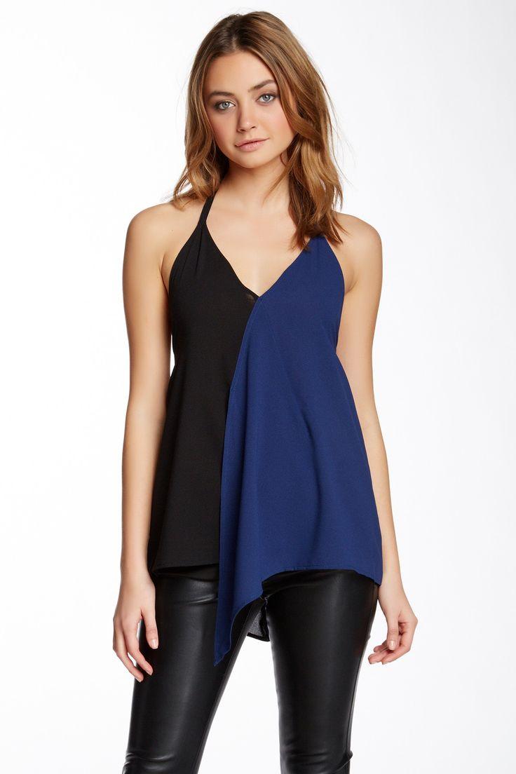 colourblock halter blouse