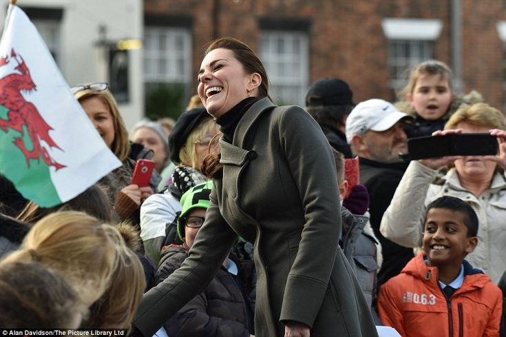 The Duchess of Cambridge was in high spirits as she arrived to carry out engagements in North Wales. The majority of the visit will focus on work carried out by organisations to improve the mental wellbeing of young people.  at Castle Square in  Caernarfon: