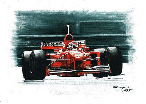 1997 Ferrari F310B  Michael Schumacher  Eddie Irvine  Ferrari F1 collection ART by Artem Oleynik. This collection demonstrating Ferrari F1 racing cars since 1950 to 2016 and includes 96 pictures in oil on canvas. The size of each original picture is 25 x 35 cm.
