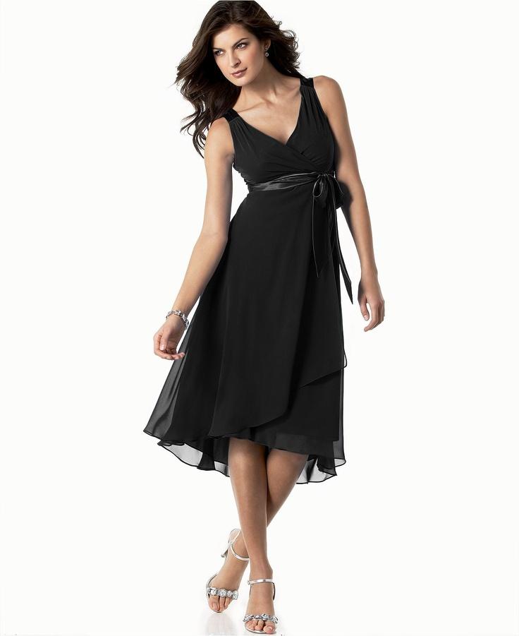 Modern Empire waist, little higher neck, but love — Evan Picone Dress, Sleeveless Satin Tie - Womens Dresses - Macy's