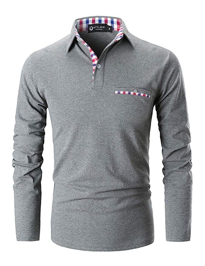 b4f51ff10fd STTLZMC Polo Shirts for Men Long Sleeve Casual Fit Plaid Collar T-Shirts