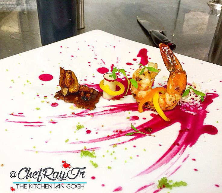 """:: This Amuse Bouche Is Called... """"The Art Of Gamba""""!    • Tiger Shrimp Poached In A Chardonnay, Shallots, Herbs, Citrus & Pepper Melange Liquid And Then Seared For Color...Purple Chive & Shallot Vinaigrette...Tobiko...Hearts Of Palm...Pecan Caramel Brittle Glass • #thekitchenvangogh #chefrayjr #seafood #amusebousch #miamichef #miami #miami #chefart #theartofplating #foodporn #foodpics #foodgasm #food #foodlovers #foodart #lcb #instafood #foodstagram"""