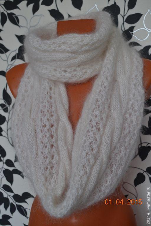 Купить Шарф- снуд вязаный пуховый - белый, рисунок, шарф, шарф-снуд, шарф хомут