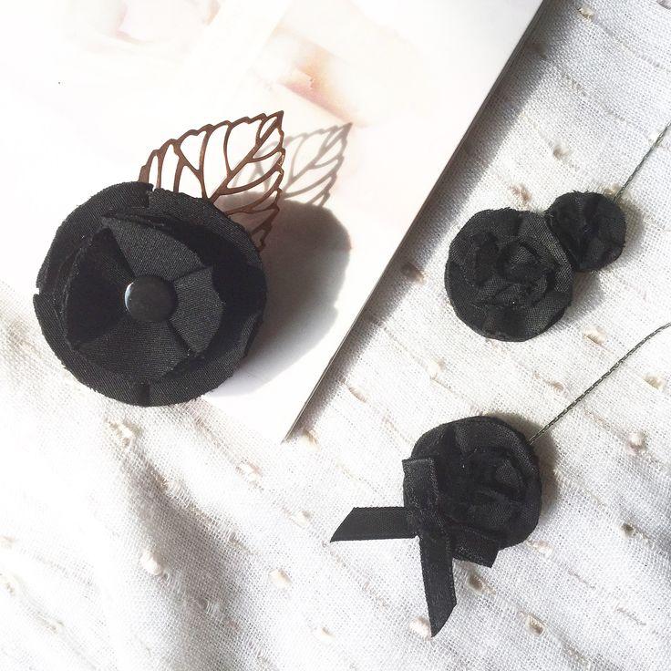 BissBiss   #bissbiss #shopbissbiss #fabricflowers #flowers #handmade #handmadewithlove #ooak #accessories #ecofashion #sustainable   #blackflowers #earrings #statementearrings #mismatched #jewelry #brooch #pin #rosegold #leaf