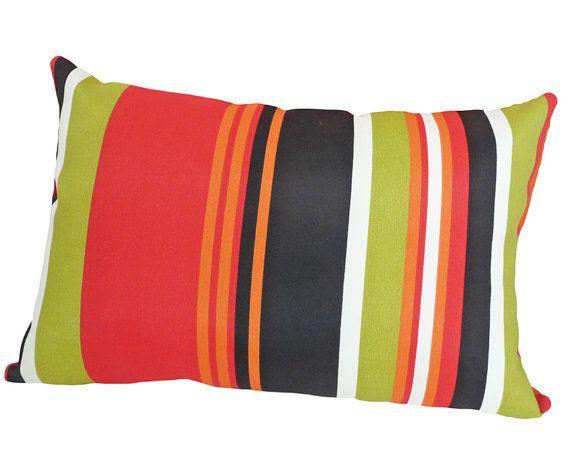 Striped Patio Pillow Bright Outside Cushion by PillowThrowDecor, $26.00