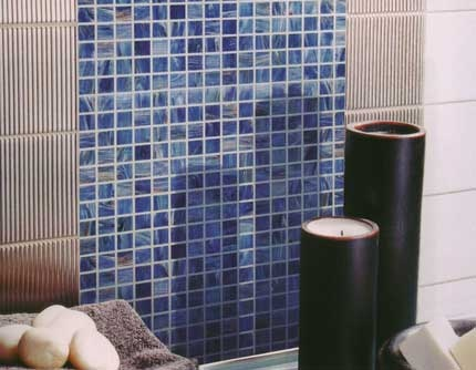 Flashed blue glass #mosaics provide an attractive feature. #UnionTiles #splashback