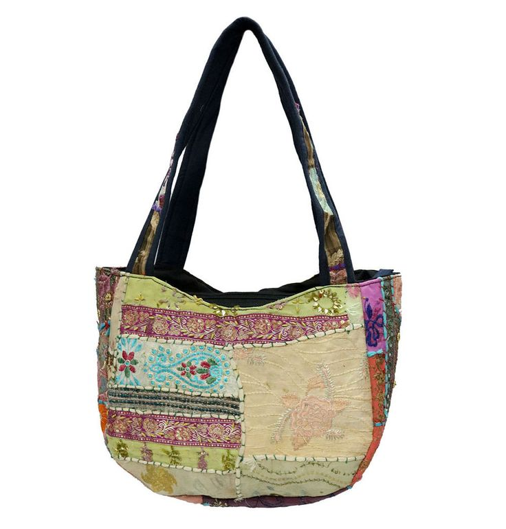 Bohemian Gypsy Bags Indian Handmade Patchwork Cotton Bags Ethnic Shoulder Bags #Handmade #ShoulderBags