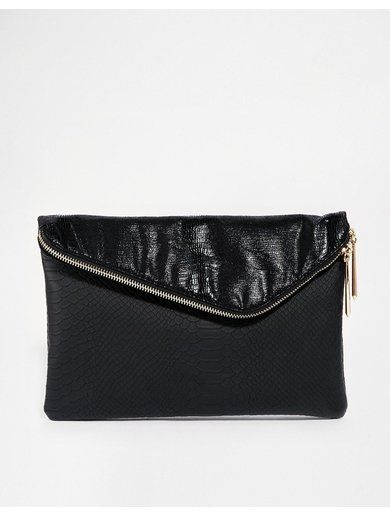 River Island Black Large Asymmetric Clutch Bag - Black