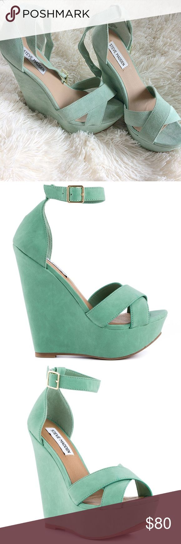 Steve Madden Xenon Mint Wedges Got these a consignment shop and sadly they are too big for me. The look like they've been worn a few times. There might be some barely noticeable dusty spots, and the straps are only slightly worn. Steve Madden Shoes Wedges