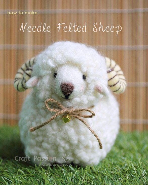 how to needle felt sheep http://www.craftpassion.com/2014/11/needle-felted-sheep.html/2