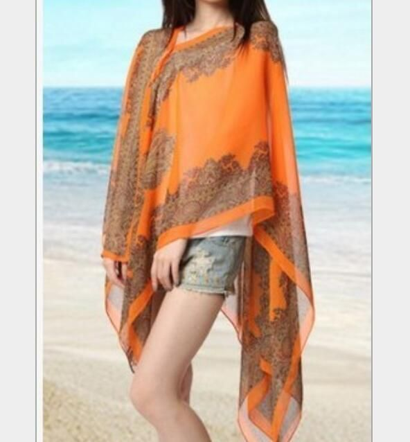 Visnxgi 2019 Summer Print Silk Scarf Oversized Chiffon Scarf Women Pareo Beach Cover Up Wrap Sarong Sunscreen Long Cape Orange R