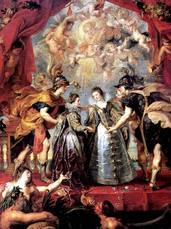 РУБЕНС ПИТЕР ПАУЭЛ. Обмен между принцессами.   Зиген (Вестфалия), 1577 — Антверпен, 1640   Предназначенные для браков с принцами Испании и Франции, скрепляющих союз двух государств, принцессы обмениваются своими спутниками — персонификациями их стран; богиня Плодородия осыпает золотым дождем их гармоничное единение. Холст, 394 х 295 см.