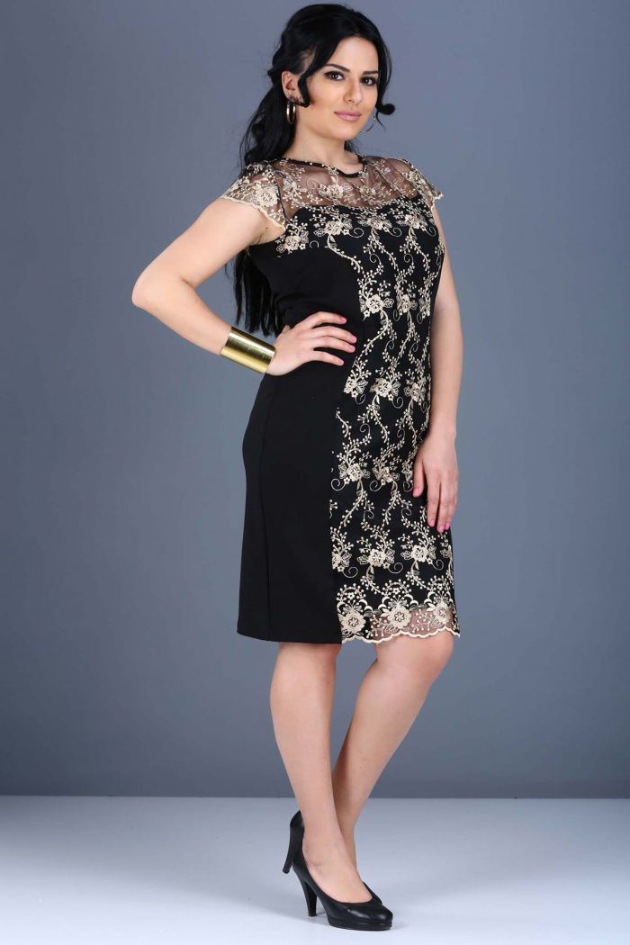 Sırt Düğme Detay Tül İşlemeli Siyah Elbise 79TL