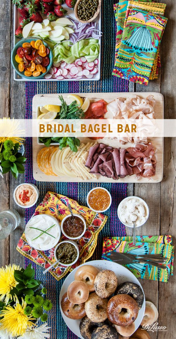 Hosting a bridal shower? This elegant bagel bar makes hosting simple for you but special for the bride-to-be. Think about incorporating details she has chosen for the wedding – colors, patterns, flowers, themes.