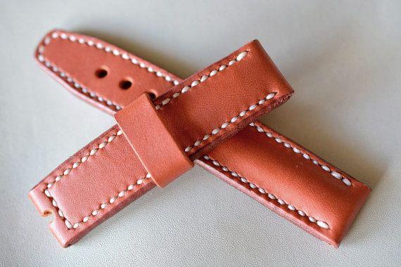 Heavy leather red watch strap handmade 22mm by VladislavKostetskyi