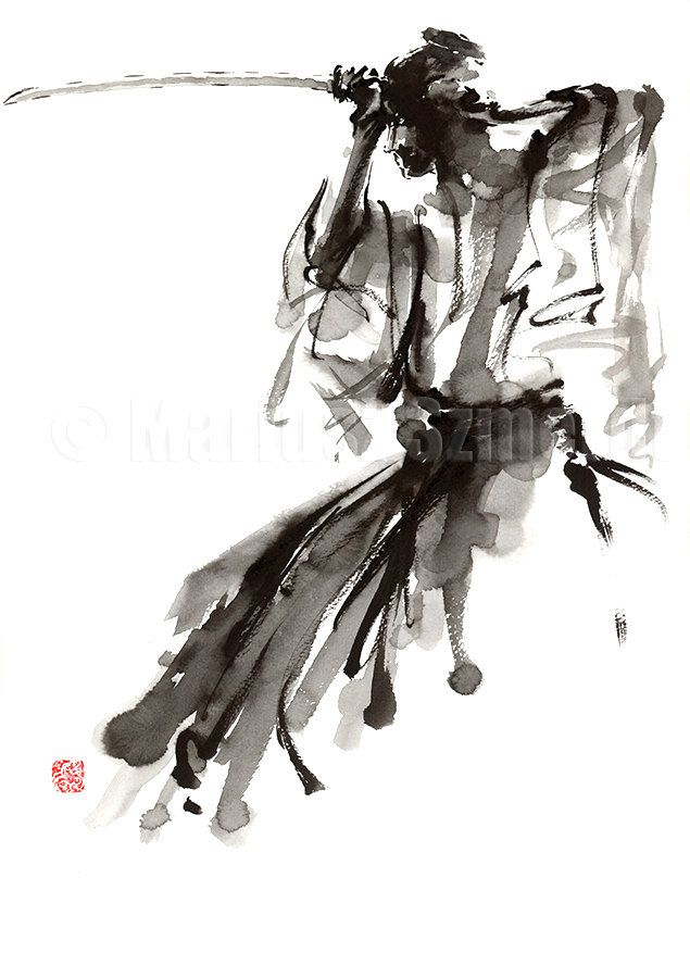 The Soul of Samurai Abstract Painting Calligraphy Style
