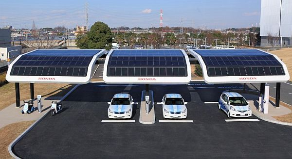 Honda has been testing solar-powered public EV charging stations and has conducted a range of test on electric vehicles in real-world urban transportation environments. These solar powered charging stations can not only charge electric vehicles, but can also be used to recharge electric scooters.