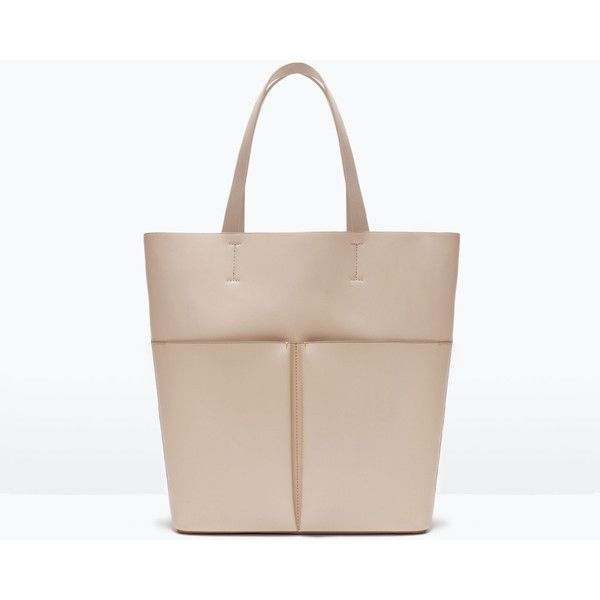 Zara Shopper Bag With Pockets (34 CAD) ❤ liked on Polyvore featuring bags, handbags, tote bags, ecru, shopping tote bags, shopper purses, zara tote, zara purse and shopping tote