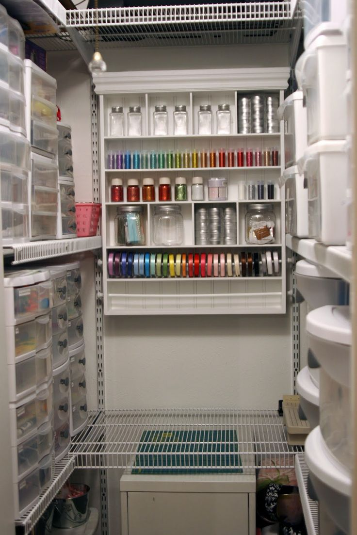 sewing organization in a walk in closet. I have 3 of the shelf on the end on display. They are art to inspire in the sewing room.