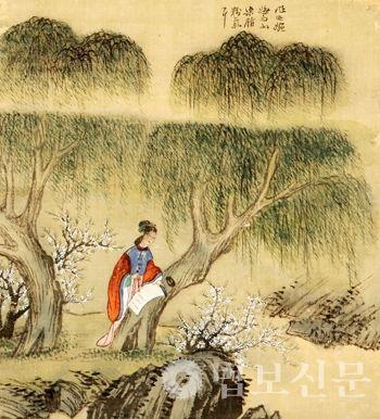 (Korea) 섬농, 1749 사공도시품첩 by Gyeomjae Jeong Seon (1676-1759). color on silk. National Museum of Korea.
