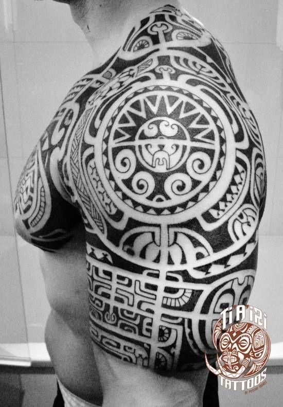 Polynesian Shoulder & Chest Tattoos - Po'oino Yrondi Po'oino Yrondi