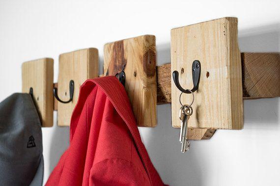 Industrial Coat Rack made from reclaimed pallets. https://www.etsy.com/listing/220924607/coat-hooks-reclaimed-wood-coat-rack?ref=listing-shop-header-1
