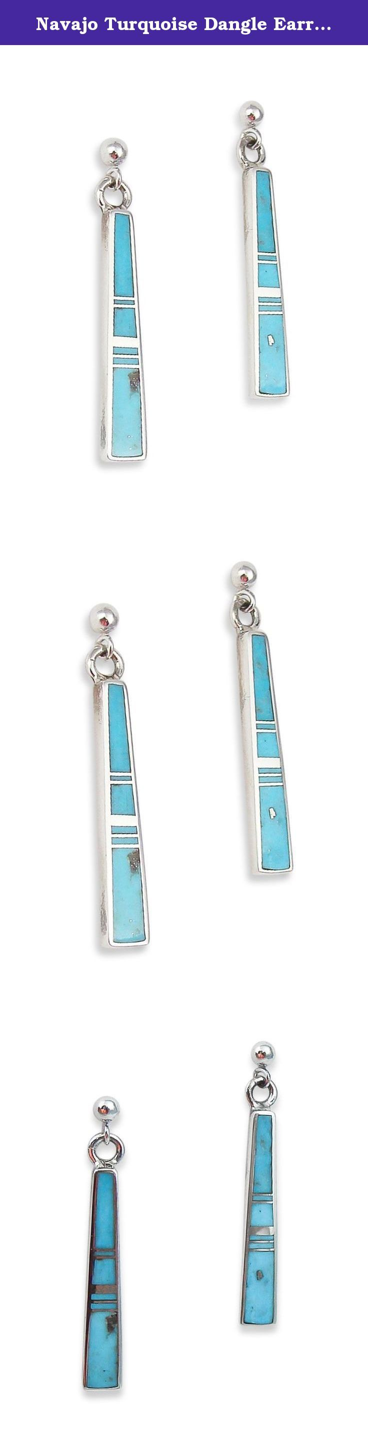 Navajo Turquoise Dangle Earrings Rick Tolino. These stunning earrings are one of a kind! Made with light blue Turquoise; they will go with anything worn with them! The Turquoise is set into a geometric inlay design, perfect for dressing up any outfit. Rick Tolino is the featured lapidary artist. He has a unique ability to translate traditional Navajo inlay techniques into jewelry that reflects his Native American heritage. His work is prized by clients and collectors throughout the world.