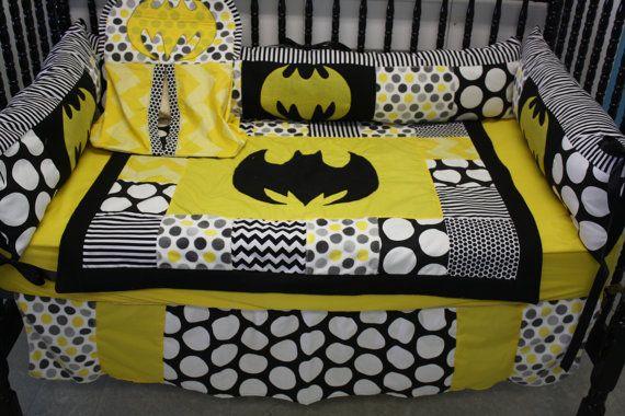 4 piece Black dot chevron batman chevron crib bedding by bedbugscreations | Etsy