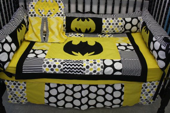 5 pc black chevron dot batman crib bedding by bedbugscreations, $399.00