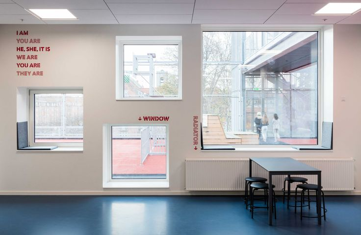 Signage and wayfinding at Frederiksbjerg School, Aarhus. Everything is integrated with the architecture. The decoration helps break down large surfaces and makes the school appear more human-scaled.