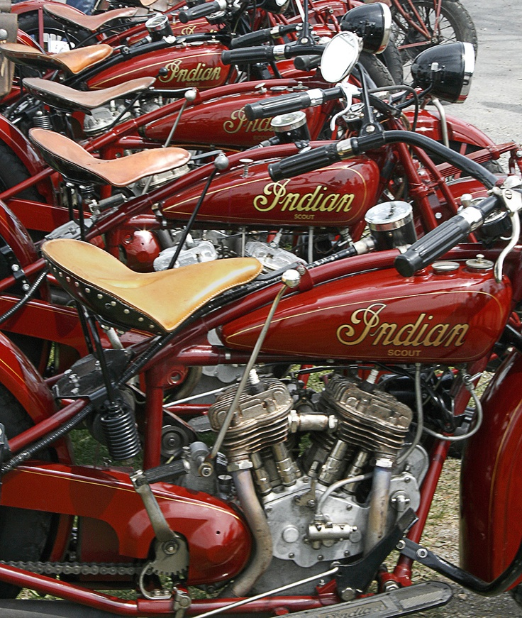 Line-up of classic Indian motorcycles, Copyright © 2014 The Antique Motorcycle Club of America, Inc. and respective authors and contributors.