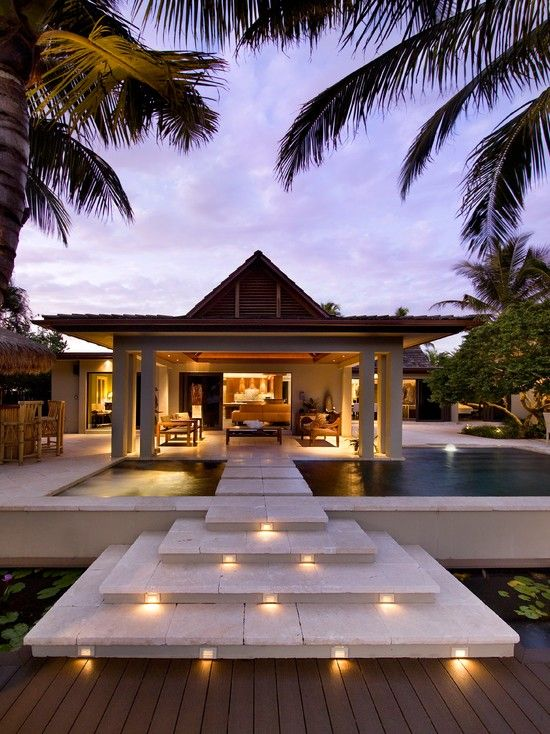 Pool and patio design and lights on steps Luxury exterior and expensive houses